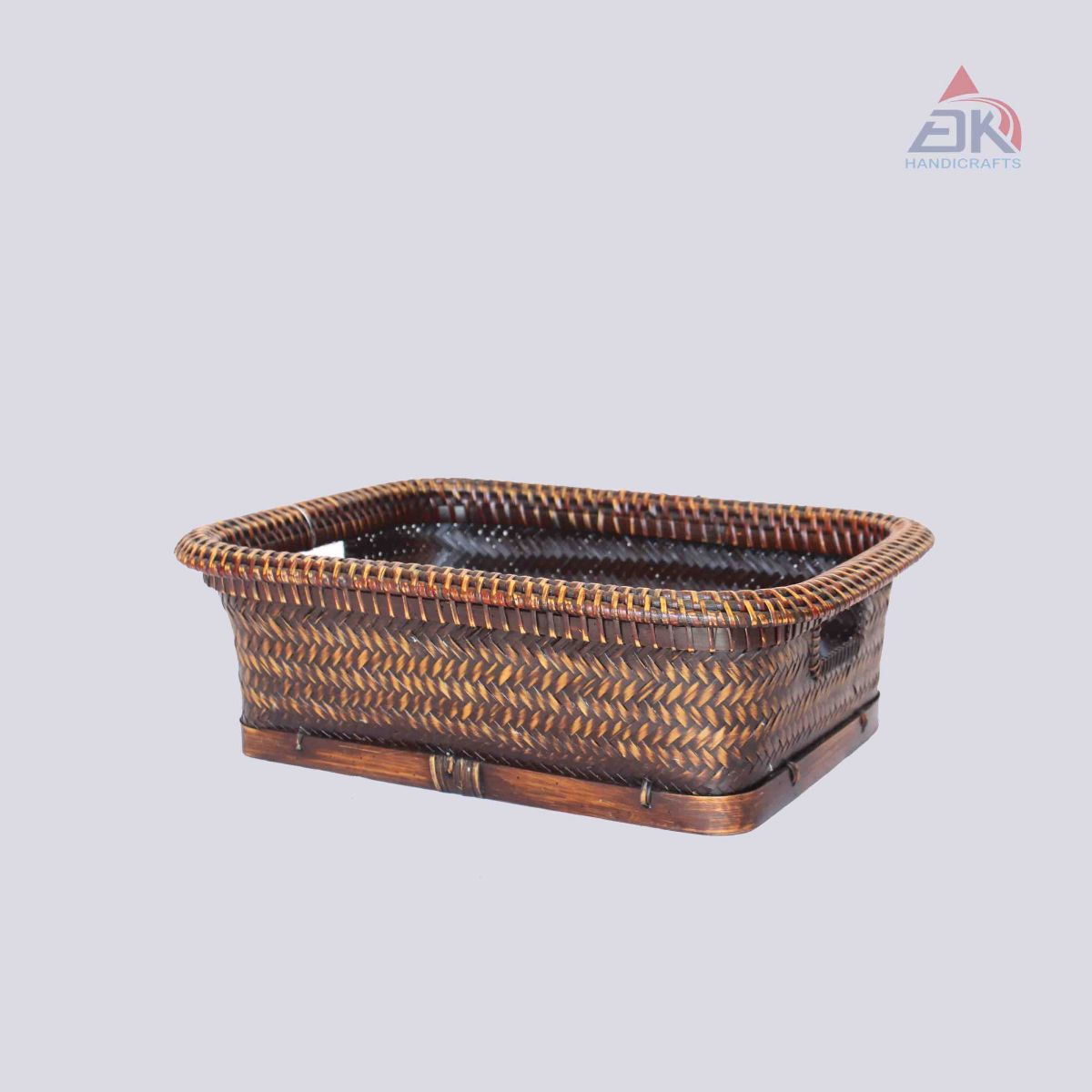 Bamboo Basket With Rattan Line