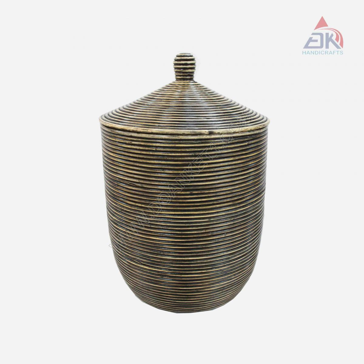 Coiled Basket With Lid # DK46