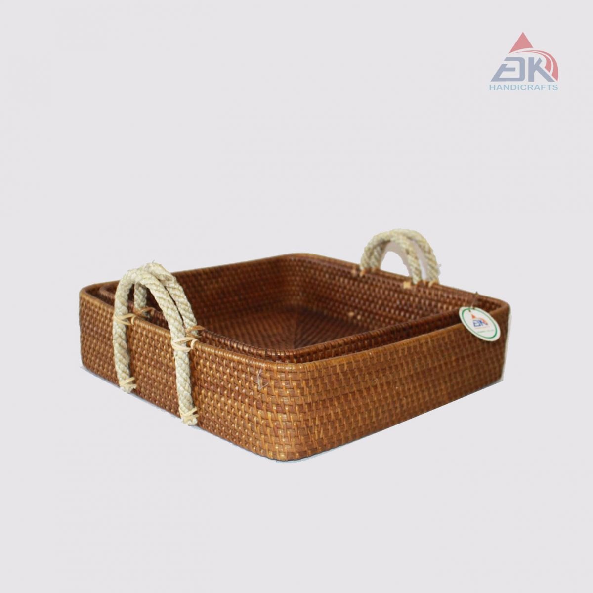 Square Basket With Handle Rope