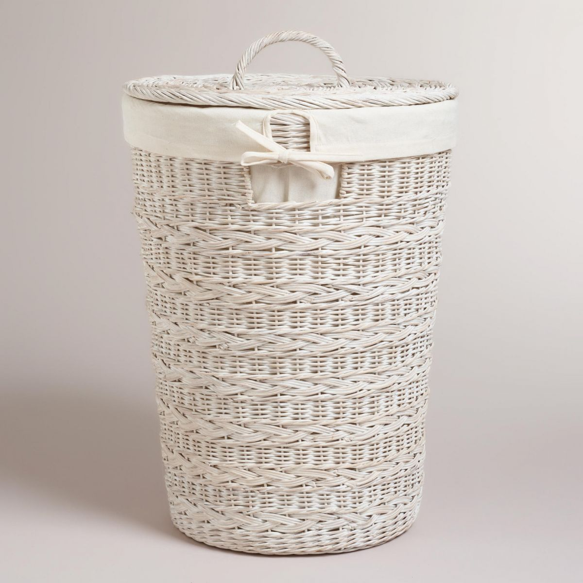 Wicker Basket Lidded With Line
