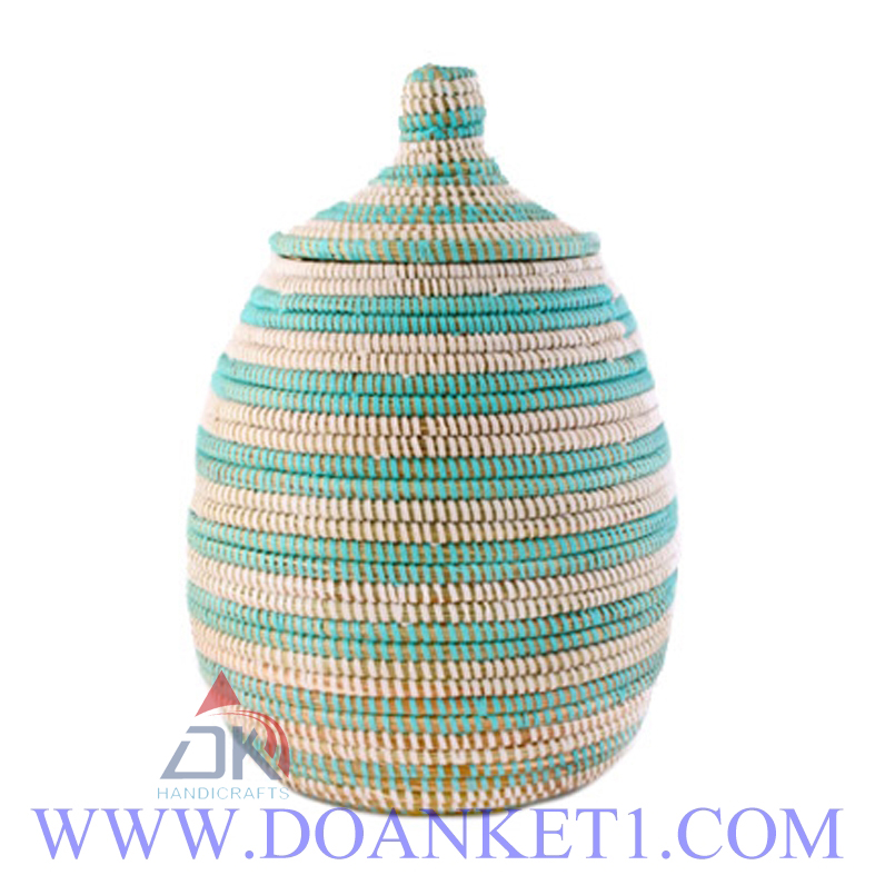 Seagrass Basket With Lid # DK195