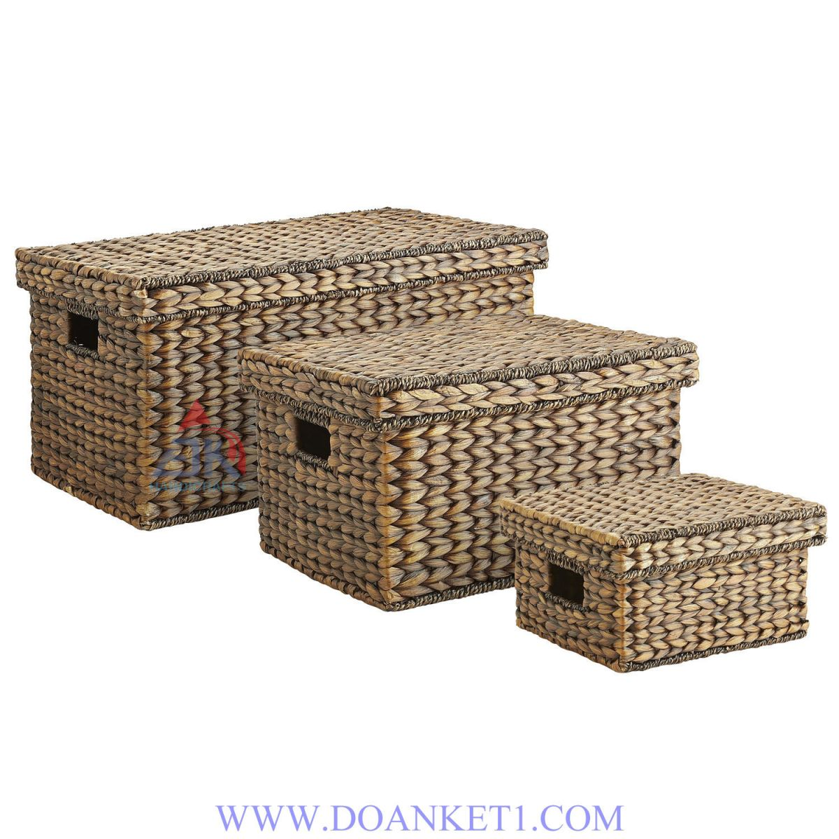 Water Hyacinth Basket With Lid S/3 # DK340