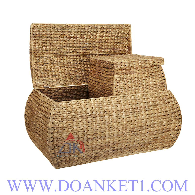 Water Hyacinth Basket With Lid S/3 # DK414