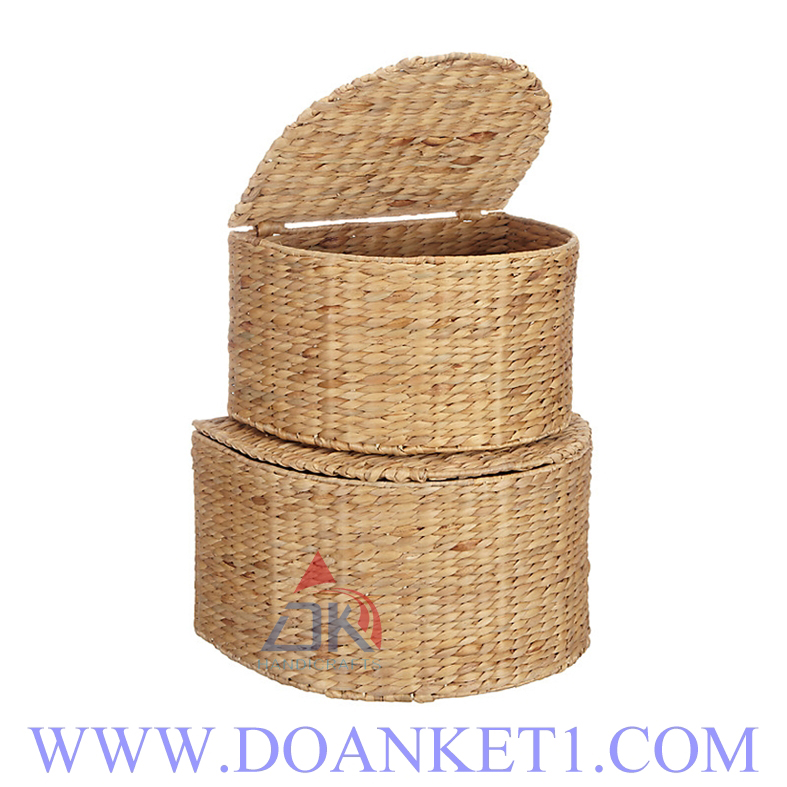 Water Hyacinth Basket With Lid S/2