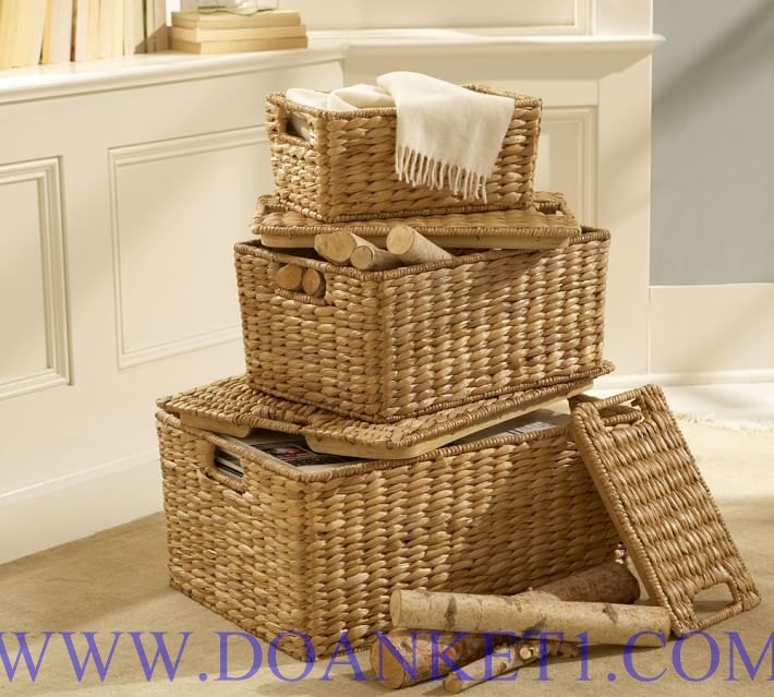 Water Hyacinth Basket With Lid S/3 # DK423